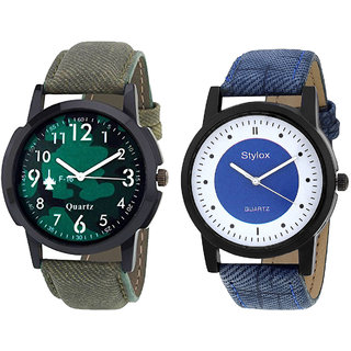 Stylox Men's Black  Green And White  Blue Stylish Dial Watch - Pack Of 2
