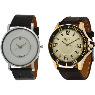 Stylox Men's One White Analog Watch And One No Analog Watch - Pack Of 2