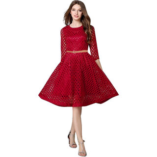 Stylelead Fashion Maxican Flare & Fit Maroon Dresses