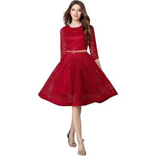 Stylelead Fashion Maxican Flare & Fit Maroon Dresses