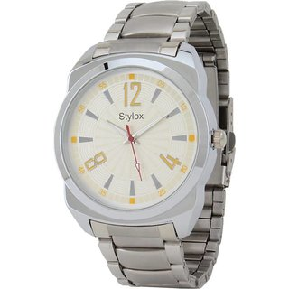 Stylox Men's Classy Round Heavy Silver Chain Yellow Dial Watch-WH-STX-217