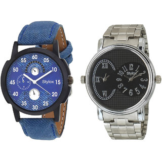 Stylox Men's Stylish Round Dial Analog Watch - Pack Of 2- WH-STX-131-203