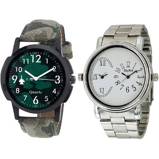 Stylox Men's Stylish Round Dial Analog Watch-Pack Of 2-WH-STX-133-204