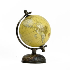 Casa Decor Victorian Elegant And Stunning World Globe with Bronze Features Detailed Metal Stand Unique Table Decor