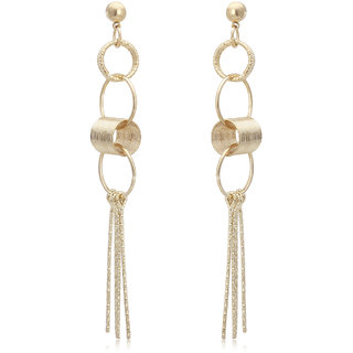 Spargz New Style Party Gold Plated Round Chain Linked Long Dangle Earrings For Women AIER 689