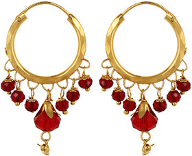 22Kt Gold Polish Sempiternal Hoop Earring Multicolor Ethnic EverydayWorkwear By CreateAwitty