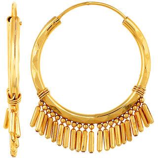 GoldNera 22Kt Gold Polish Ripple Hoop Earring Gold Ethnic Everyday::Workwear For Women