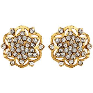 22Kt Gold Polish Bucolic Stud Earring Gold Ethnic EverydayWorkwear By CreateAwitty
