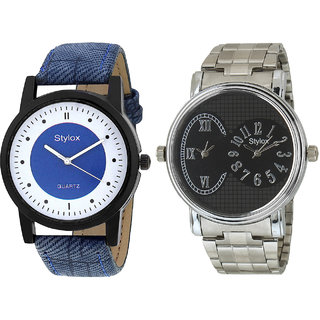 Stylox Men's Classy Round Dial Analog Watch-Pack Of 2-WH-STX-166-203