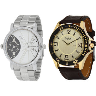 Stylox Men's Classy Round Dial Analog Watch-Pack Of 2-WH-STX-201-124