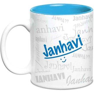 Janhavi Name Gift  Ceramic Inside Blue Mug Gifts For Birthday