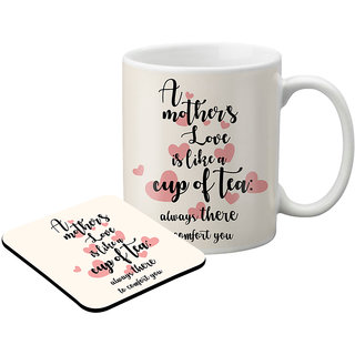 LOF Gifts For A Mother Love Is Like A Cup Of Tea Gifts For Mother'S Day  Graphics Printed Coaster And Mug Combo