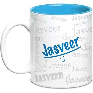 Jasveer Name Gift  Ceramic Inside Blue Mug Gifts For Birthday