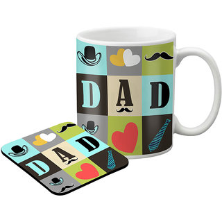 LOF Gifts For Awesome Gifts For Dad For Father'S Day  Graphics Printed Coaster And Mug Combo