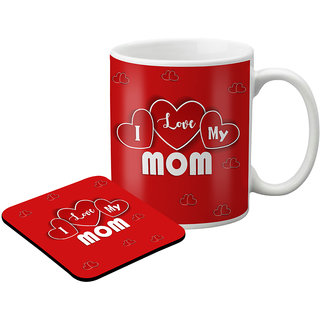 LOF Gifts For I Love My Mom Gifts For Mummy For Mother'S Day  Graphics Printed Coaster And Mug Combo