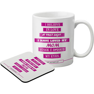 LOF Gifts For I Believe In Love Gifts For Mummy For Mother'S Day  Graphics Printed Coaster And Mug Combo
