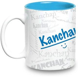 Kanchan Name Gift  Ceramic Inside Blue Mug Gifts For Birthday