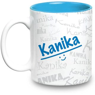 Kanika Name Gift  Ceramic Inside Blue Mug Gifts For Birthday