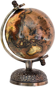 Casa Decor Victorian Stunning Enamel Coated World Globe with Bronze Features Detailed Metal Stand Unique Table Decor