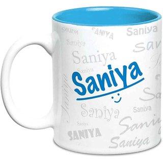 Buy Saniya Name Gift Ceramic Inside Blue Mug Gifts For Birthday