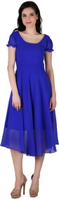 Fashion meee georgette blue solid round neck short sleeve flair dress
