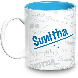 Sunitha Name Gift  Ceramic Inside Blue Mug Gifts For Birthday