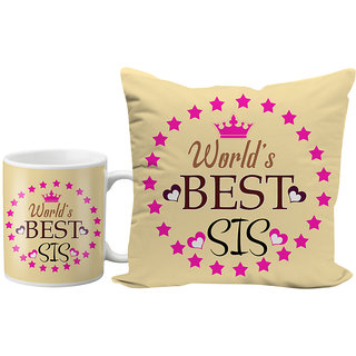 LOF WorldS Best Sis Sissy Sister Gifts For Birthday And Anniversary 12x12 Cushion Cover Ceramic Coffee Mug Combo