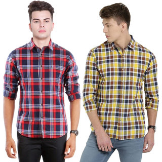 B Bee Check Slim fit Casual Poly-Cotton Shirt For Men Combo Of 2