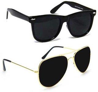 Meia Combo of Black Wayfarer and Black Aviator Sunglasses