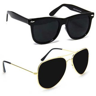 Meia Combo of Black Wayfarer and Black Aviator Sunglasses