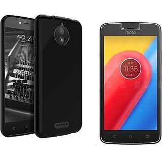 Motorola moto C plus back cover black with tempered glass 2.5 D Curved 0.33mm glass