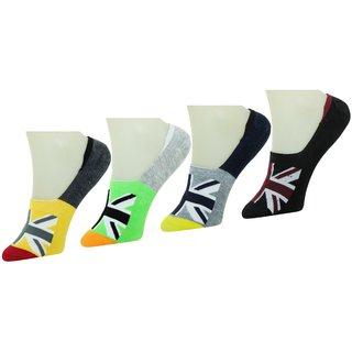 Neska Moda Premium Men And Women 4 Pairs Cotton Loafer Socks With Silicon Gel Grip Multicolor S668