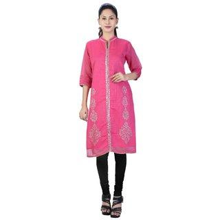 Priyaz Pink Floral Chanderi Semi Stitched Kurti