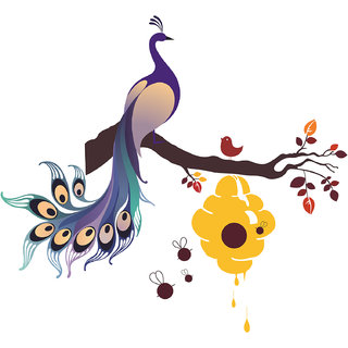 King Peacock Wall Sticker on Branch with Honey Bees  - (110 x 100) cms - Multicolor