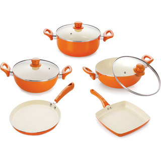 NIRLON 4 layer Coated Ceramic Non-stick Induction Pans and Pots 5 pieces Combo Cookwares gift Set (Dosa Tawa, 2 Kadhai With Glass Lid, Grill Pan, Casserole With Glass Lid) Orange Colour