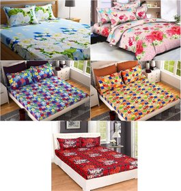 Home Berry Fusion Polycotton 5 Double Bedsheet With 10 Pillow Covers (HCHB-36)