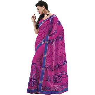 Indian Women Alluring Magenta Chiffon Saree With Blouse