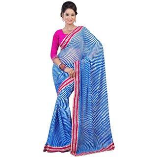 Triveni Blue Chiffon Printed Saree With Blouse