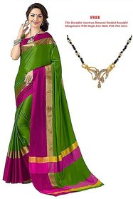 Ruchika Fashion Green Plain Cotton Silk Saree With Blouse & Free Mangalsutra