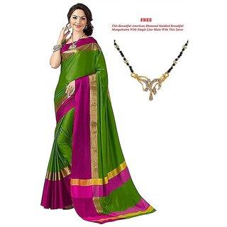 0ad51cd92 Ruchika Fashion Green Plain Cotton Silk Saree With Blouse & Free Mangalsutra