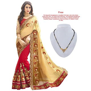 Ruchika Fashion Beige Red Embroidered Georgette Saree With Blouse Piece.(Patli)