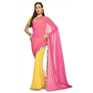 Yellow and pink faux georgette saree with unstitched blouse (1520)