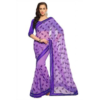 Mauve chiffon saree with unstitched blouse (1550)