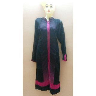 Mb Trends Georgette Kurtis Black And Pink XXL