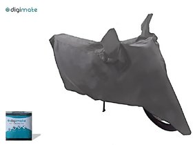 Universal Water Resistant Grey Bike Body Cover With Buckle Lock (For Bikes Upto 150 cc) - Brand Digimate