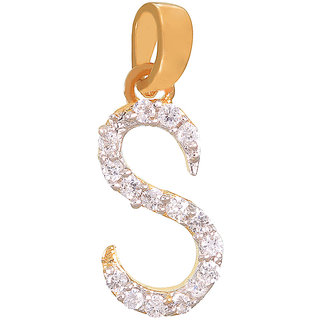 Mahi's Gold Plated Stylish S Initial Golden Pendant (PS1101319G)