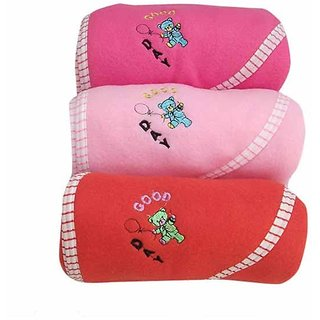 Good Day Teddy Hooded Baby Blanket Assorted Colors - Set of 3