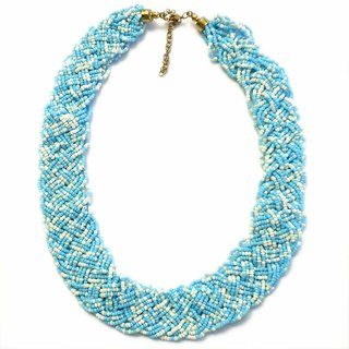 Beadworks hand knotted Turquoise & White Necklace