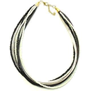 Beadworks Black & White Multi Strand Necklace