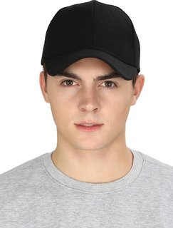 Classic Look Black Solid Plain Baseball Cap For Men And Women